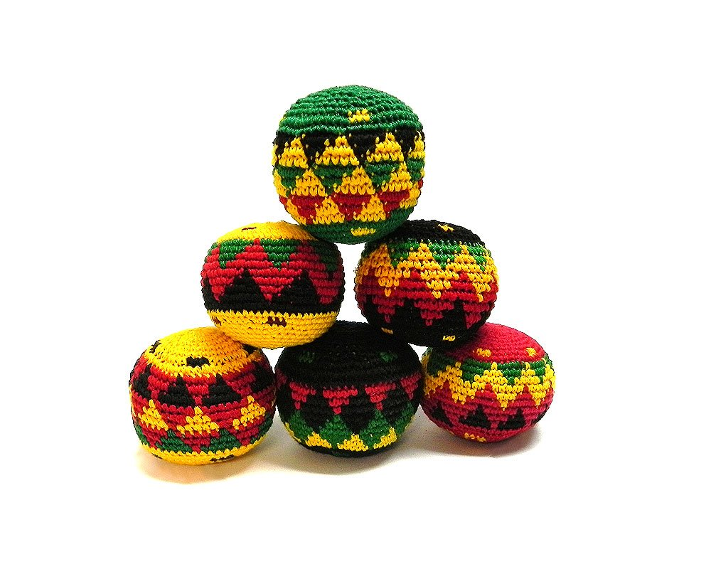 Mia Jewel Shop Guatemalan Handcrafted Crochet Assorted Pattern Hacky Sack Ball Foot Bag Rasta - Wholesale Set of 3, 6, 12, or 24 (Set of 24) by Mia Jewel Shop (Image #1)