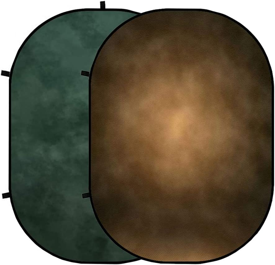 Kate 5x6.5 Collapsible Backdrop Smoky Green//Dark Brown Double Sided Backdrops Collapsible Twist Flex Background for Video 1.5x2m