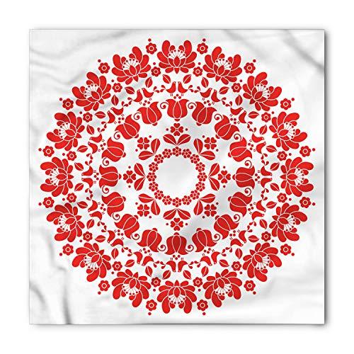 Ambesonne Unisex Bandana, Red Mandala Hungarian Folk Art, Vermilion White