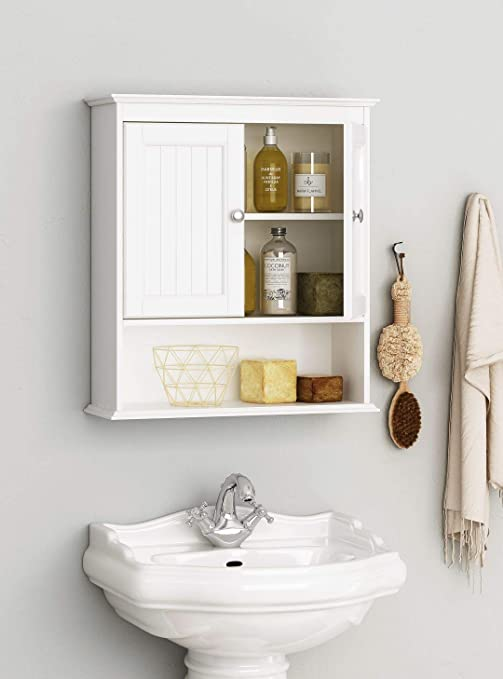 Amazon Com Spirich Home Bathroom Cabinet Wall Mounted With Doors Wood Hanging Cabinet Wall Cabinets With Doors And Shelves Over The Toilet Bathroom Wall Cabinet White Kitchen Dining