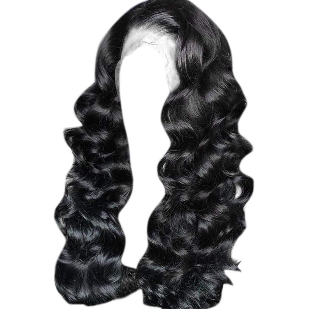 Wig,SUPPION Lace Front Women's Fashion Wig Black Synthetic Hair Long Wigs Wave Curly Wig - 26 inches - Cosplay/Party/Costume/Carnival/Masquerade (Black)