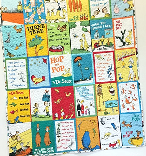 Baby Quilt Dr Seuss One Fish Two Fish, Hop on Pop and What Pet Should I Get Crib Nursery Bedding Handmade by Carlene Westberg Designs