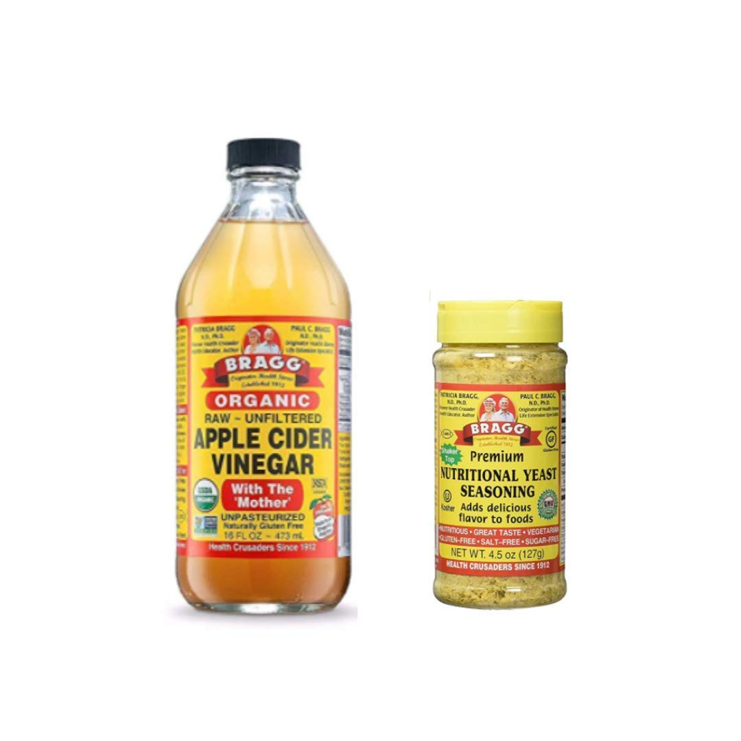 Bragg Organic Apple Cider Vinegar With the Mother 16oz and Nutritional Yeast Seasoning 4.5oz Bundle