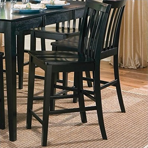 Coaster Contemporary Counter Height Stools, Black Wooden Finish, Set Of 2,  24 Inch