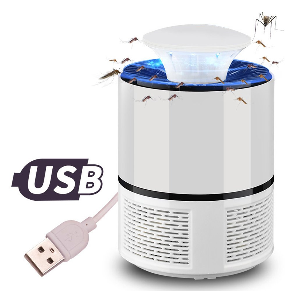 Electric Mosquito Insect Zapper Killer with Trap Lamp USB Powered Smart Light Control UV LED Photocatalyst Fly Bug Dispeller with Suction Fan for Indoor Home oobest