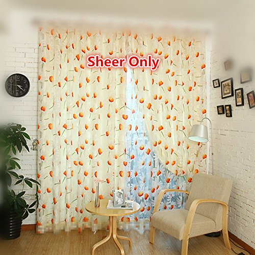 WPKIRA Window Treatments Decorative Floral Tulle Voile Door Window Rom Curtain Drape Panel Sheer Scarf Valances Rod Pocket Top, 1 Panel, W75 x L96 inch