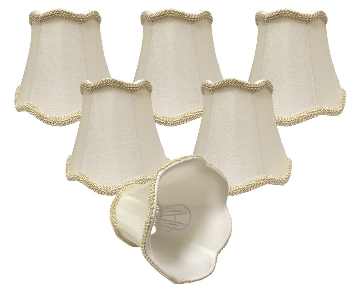 Royal Designs, Inc CSO-1028-5EG-6 Royal Designs Chandelier Lamp Shades - 3'' x 5'' x 4.5'' - Scalloped Bell - Eggshell - Clip-On - Set of 6, 6 Piece