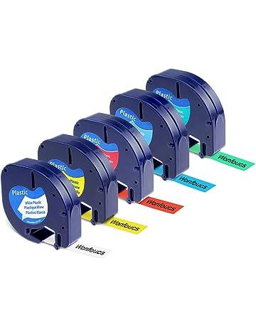 5x Compatible Letratag Plastico Cintas de Etiquetas 12mm x 4m Compatible con Dymo LetraTag para LT