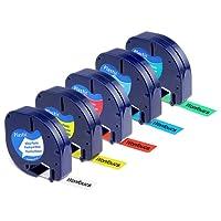 Wonfoucs 5 Rubans Compatible pour Dymo LetraTag 91201 91202 91203 91204 91205 Plastique Étiquettes, 12mm x 4m, Noir sur Blanc/Rouge / Jaune/Bleu / Vert Cassettes pour LT-110T LT-100H QX 50 XR XM