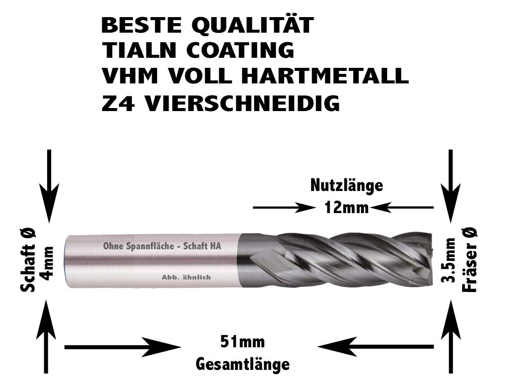 1 mm 2 mm Gr/ö/ße w/ählbar VHM Fr/äser TiAlN vierschneidig Z4 12 mm