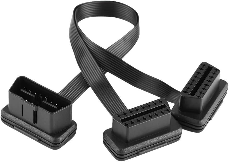 Qiilu Auto OBD2 16pin 2 in 1 konvertierte Kabel Diagnose Verl/ängerung Kabel Stecker Adapter