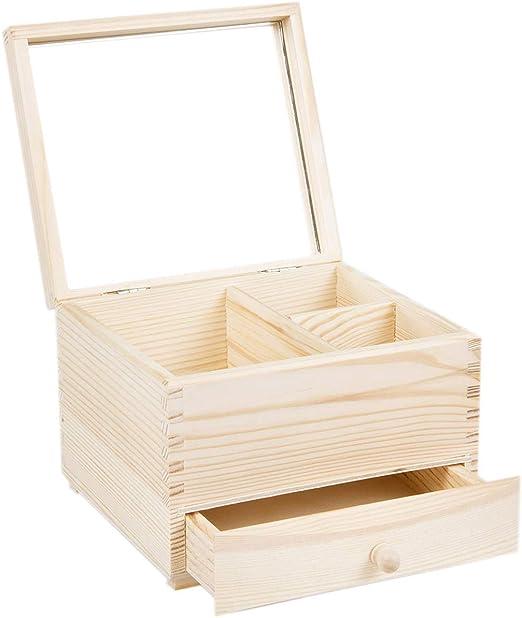 Joyero Caja Madera Natural Espejo cajón: Amazon.es: Hogar