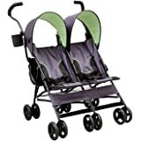 Delta Children LX Side by Side Tandem Umbrella Stroller, Lime & Green