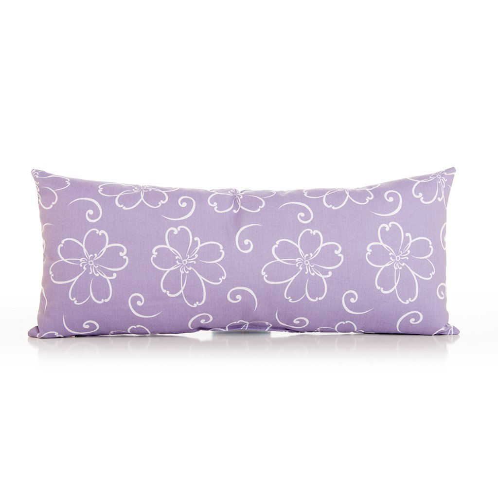 Sweet Potato Lulu Rectangular Bolster Pillow, White/Lavender