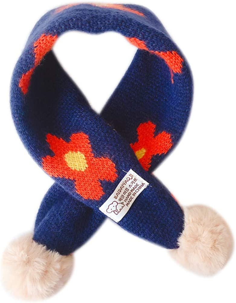 Gyratedream Childrens Girls Fashion Casual All-match Cute Knitted Warm Winter Small Flowers Pattern Plush Balls Scarf