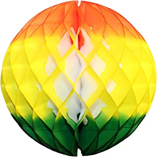product image for 3-Pack 12 Inch Honeycomb Tissue Paper Ball Decoration (Orange/Yellow/Green)