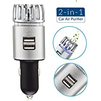 Car Air Purifier by AutoKraze | Plug In Air Freshener | Durable Ionizer | Air Deodorizer - Removes Smoke, Pet Smell, Dust, Pollen, Food Smell, Bad Odors Instead of Just Covering It - Has 2 USB Ports