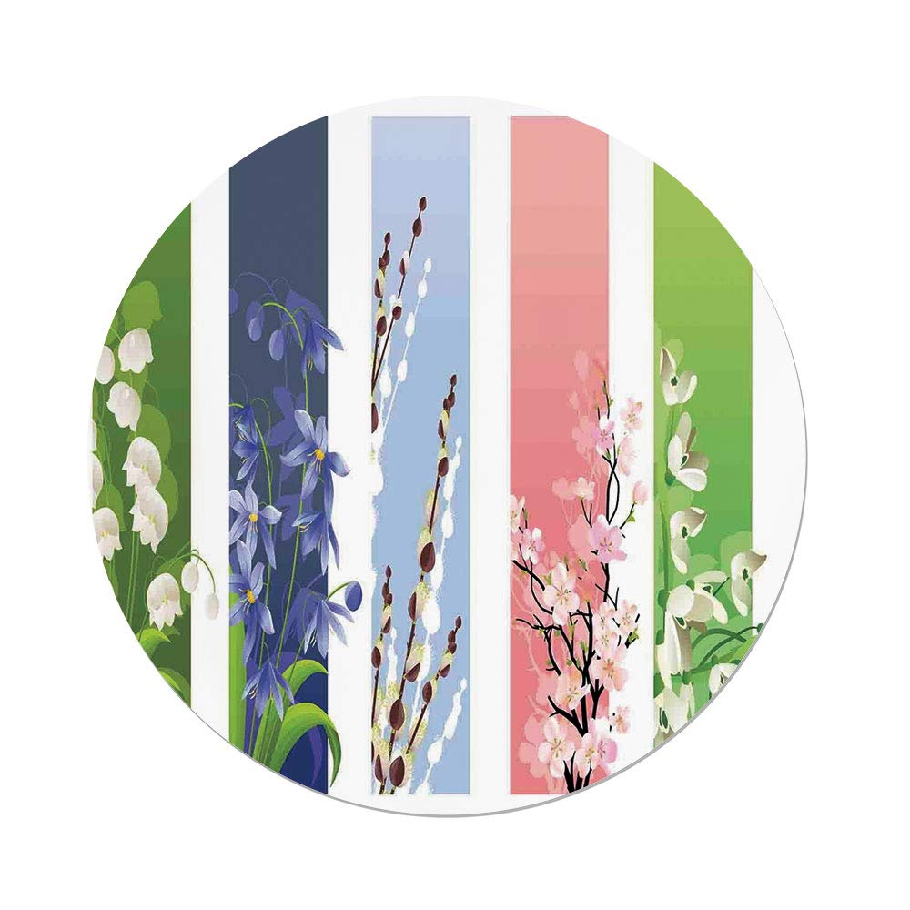 Polyester Round Tablecloth,Floral,Spring Flowers on Different Backgrounds Lily Valley Primrose Floral Home Decor,Multi,Dining Room Kitchen Picnic Table Cloth Cover,for Outdoor Indoor