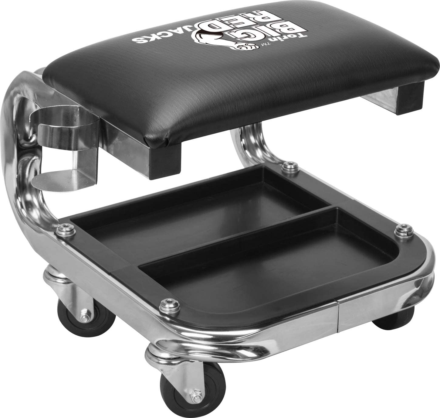 Black Big Red AR7451B Torin Heavy Duty Rolling Creeper Garage//Shop Seat Padded Mechanic Stool with Tool Tray Storage and Cup Holder