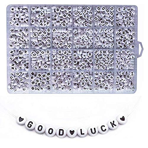 Roblue 1200PCS White Letter Beads Round Acrylic Letter Beads A-Z Heart and Alphabet Letter Beads for Bracelets Jewelry Making Necklaces Key Chains and Kids Jewelry (4x7mm)