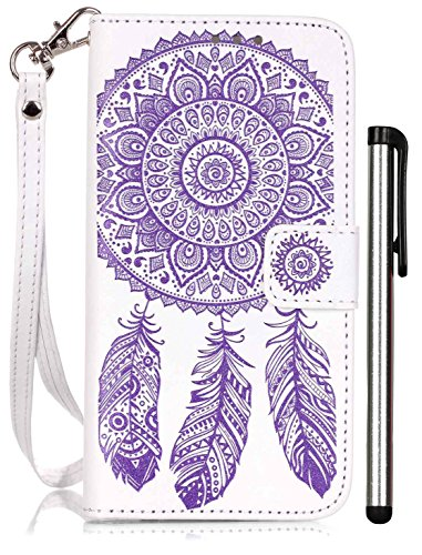 Galaxy S6 Protective Case Accessories Wallet Case Luxury White Purple Leather Full Body Book Cell Phone Cover with Stand Credit Card Holder Cash Slot Wrist Strap Handmade Embossed Fashion Wind Chimes