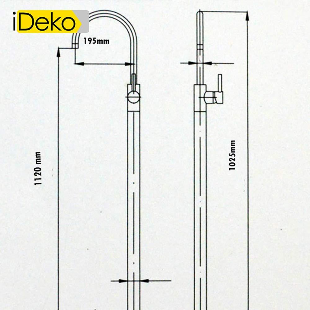 iDeko Grifo de ba/ñera con pie de ducha vertical con alcachofa de ducha color negro
