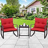 Tangkula 3 PCS Patio Rocking Wicker Bistro Set Outdoor Rattan Wicker Furniture Set Garden Rocker Chair Set with Glass Top Coffee Table & Waterproof and Removable Cushions