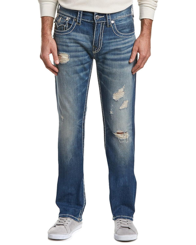 True Religion Mens Right Turn Straight Leg, 36, Blue