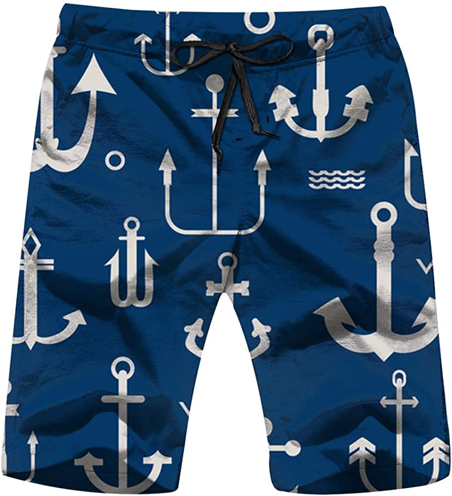 Various Anchor Collection Your Design Nautical Holidays Mens Swim Trunks Beach Short Board Shorts