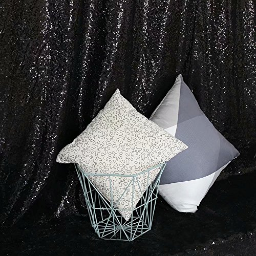 GFCC Sequin Backdrops Black Sequin Curtains Sequin Fabric for Wedding/Party/Birthday-20ftx10ft by GFCC (Image #3)