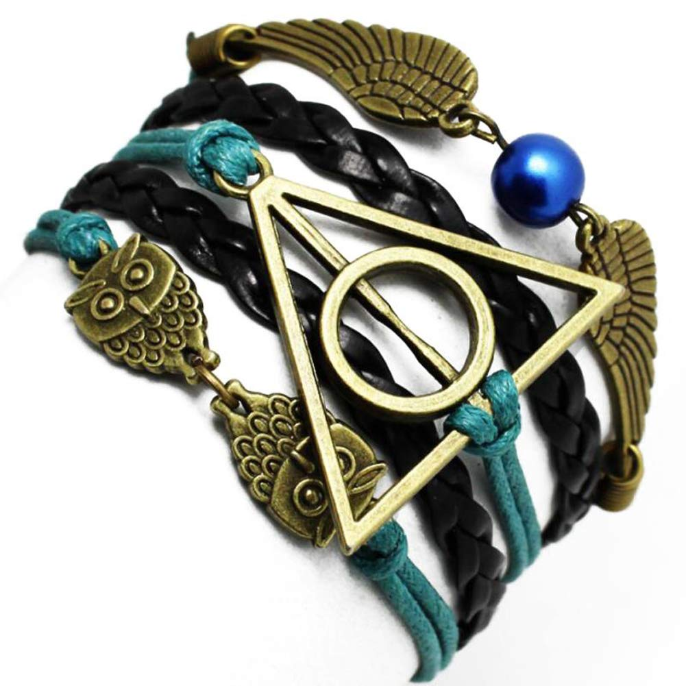 4MEMORYS Owl Wings Bracelet with Deathly Hollow Charm Handmade Leather Rope Bracelet for Harry Potter Fans (Green)