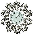 "Lulu Decor, Decorative Leaf Metal Wall Clock, Glass Dial Diameter 25"", Perfect for Housewarming Gift"