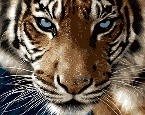 YEESAM ART Paint by Number Kits for Adults Kids - Majestic Tiger Sharp Eye 16x20 inch Linen Canvas (Without Frame)