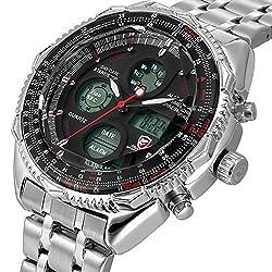 Shark Sport Watch, Mens Digital LCD Quartz Alarm Day Date Stopwatch Stainless Steel Wrist Watch SH111