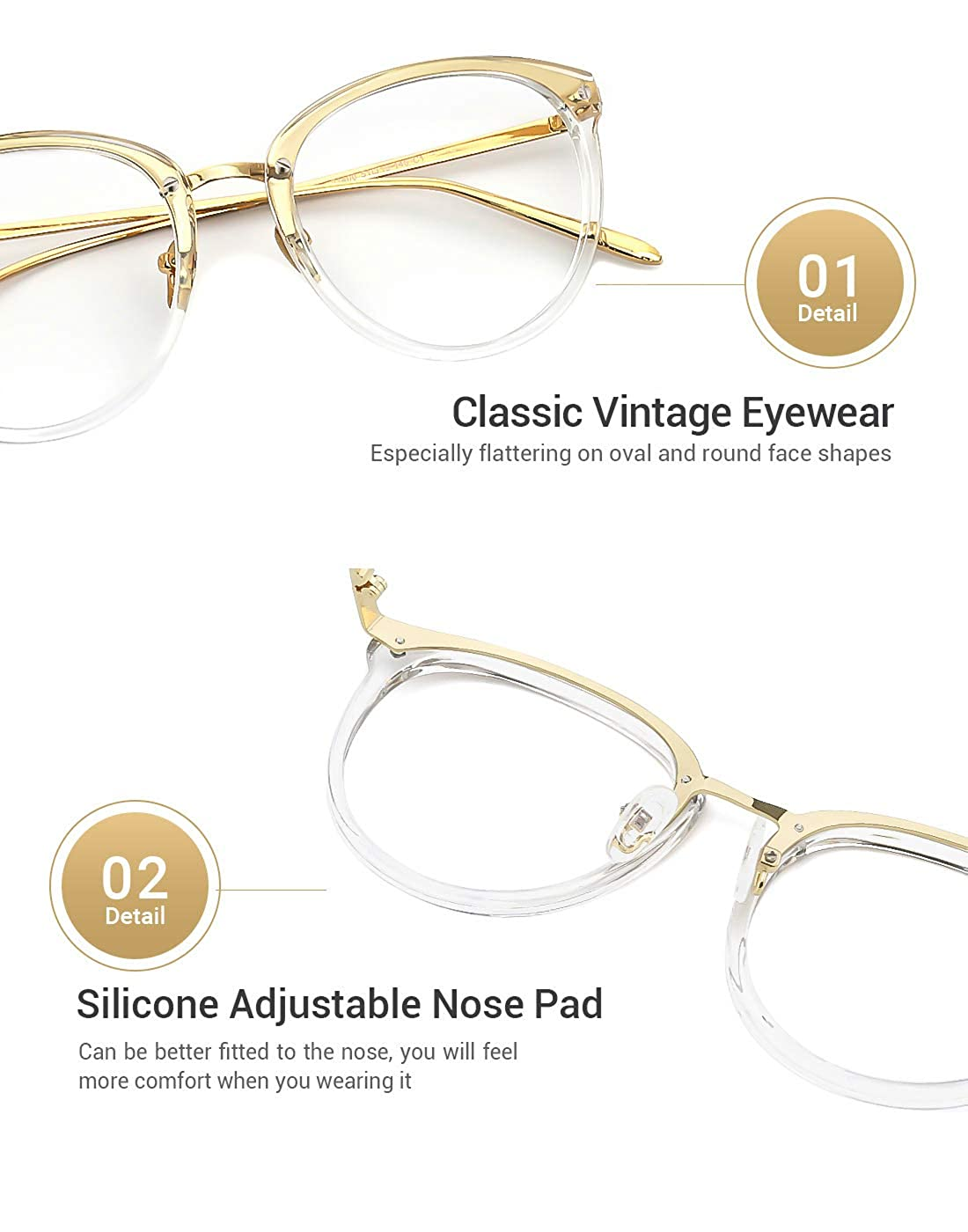 db3fd61c7a9 Amazon.com  TIJN Vintage Round Metal Optical Eyewear Non-prescription Eyeglasses  Frame for Women  Shoes