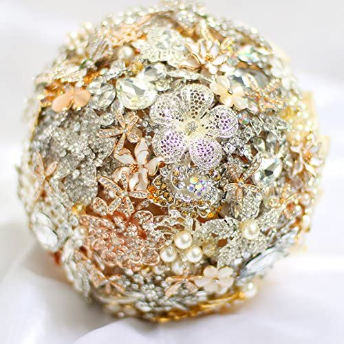 Jeweled Bouquet Made upon request Ivory and Red wedding brooch bouquet Brooch bouquet