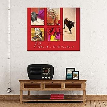 Vertikale décoration murale tableau toile corrida fond rouge traditions sud ouest