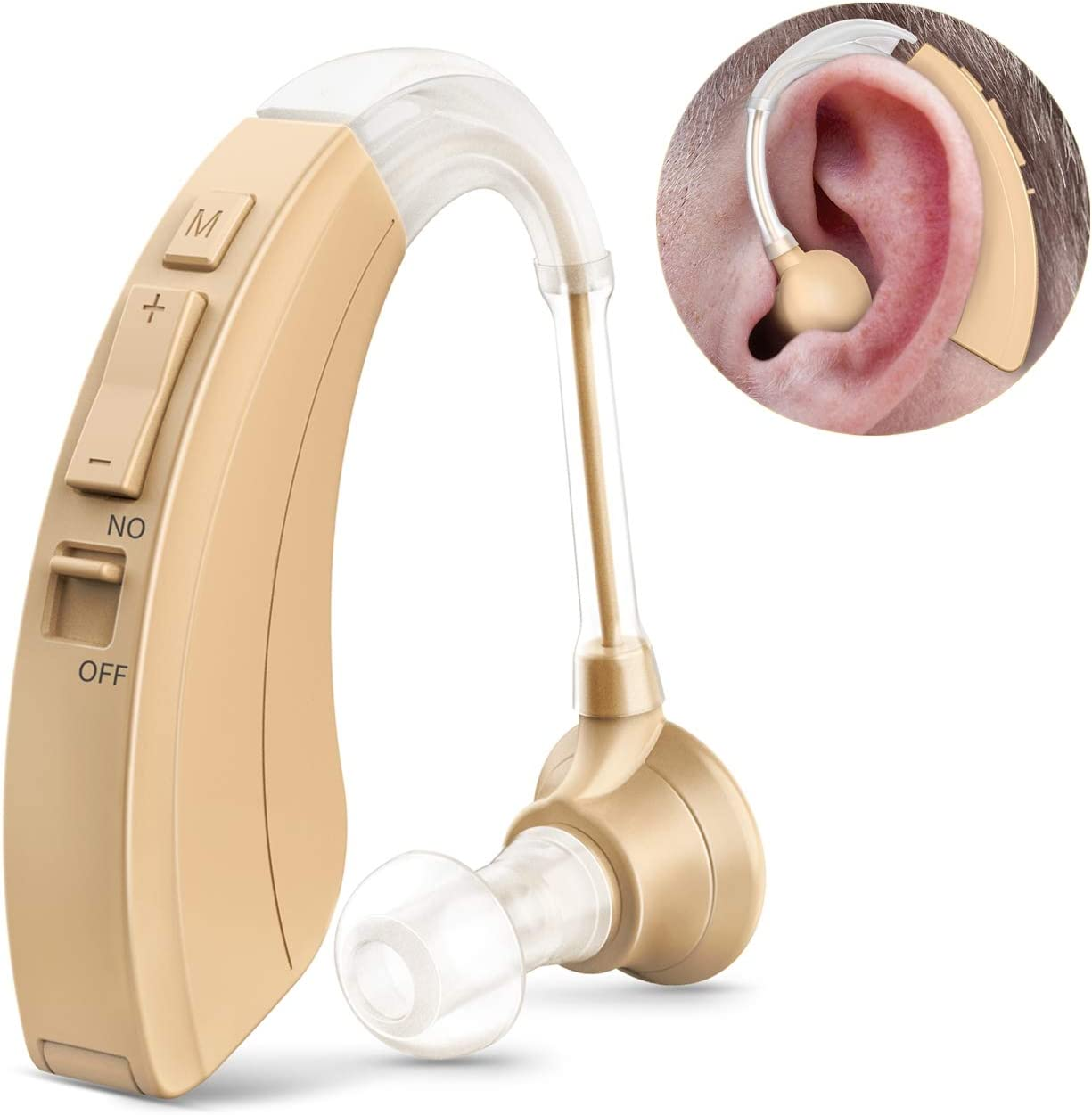 Digital Hearing Amplifier Personal Sound Device for Adults & Seniors, Ear Sound Enhancer, 500 Hours Per Battery Life and Hearing Aid Cleaning Brush Included