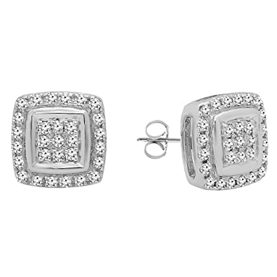 fc0d1935e Dazzlingrock Collection 0.25 Carat (Ctw) 10k Round Cut White Diamond Ladies  Stud Earrings,