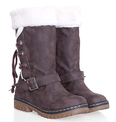 b4e8d3cf5f9ff Bottes de Neige Femmes Hiver Chaudes Bottes Fille Mode Fourrées Boots Bottes  Antidérapantes Randonnée en Plein