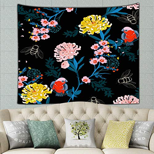 dark japanese garden night blooming flowerspattern Tapestry Wall Hanging, Hippie Sunset Forest Tapestry, Wall Art Decoration for Bedroom Living Room Dorm, Window Curtain Picnic Mat 80 x 60 inch