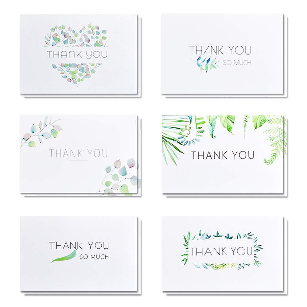 Blank Watercolor Thank You Cards, 6 Designs Blank Cards Pack of 24, Elegant Floral Green & White Card Designs, Bulk Note Box for Graduation, Wedding, Bridal Party