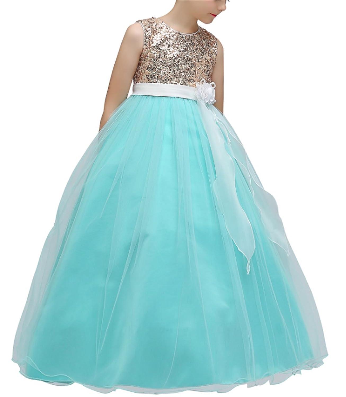 Amazon.com: KISSOURBABY 4-14T Flower Girls Tulle Dresses Wedding ...