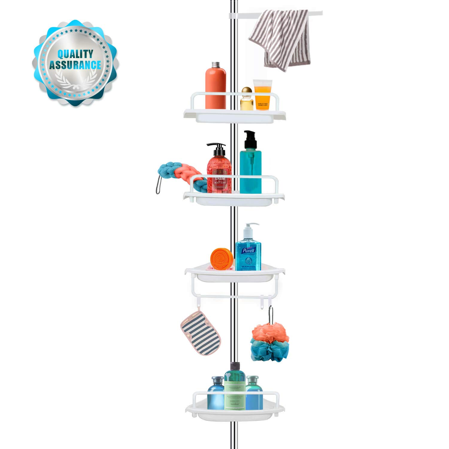 Vailge Adjustable Constant Tension Corner Shower Caddy,Rustproof Stainless Steel Shower Caddy Pole,4 Positionable Shelves Tension Shower Caddy,Strong and Sturdy,White -1 Pack by Vailge