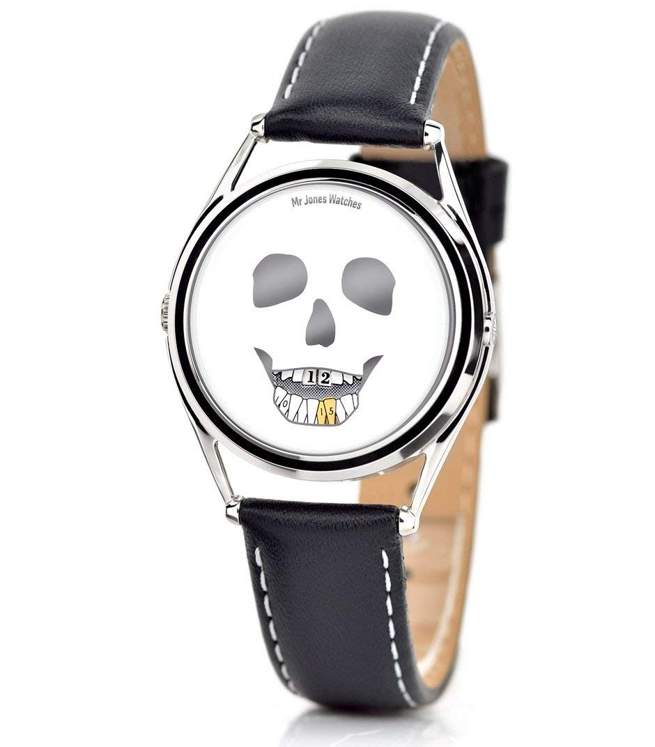 Mr Jones Unisex The Last Laugh Stainless Watch - Black Leather Strap - White Dial - 25-P4 by Mr Jones Watches (Image #2)