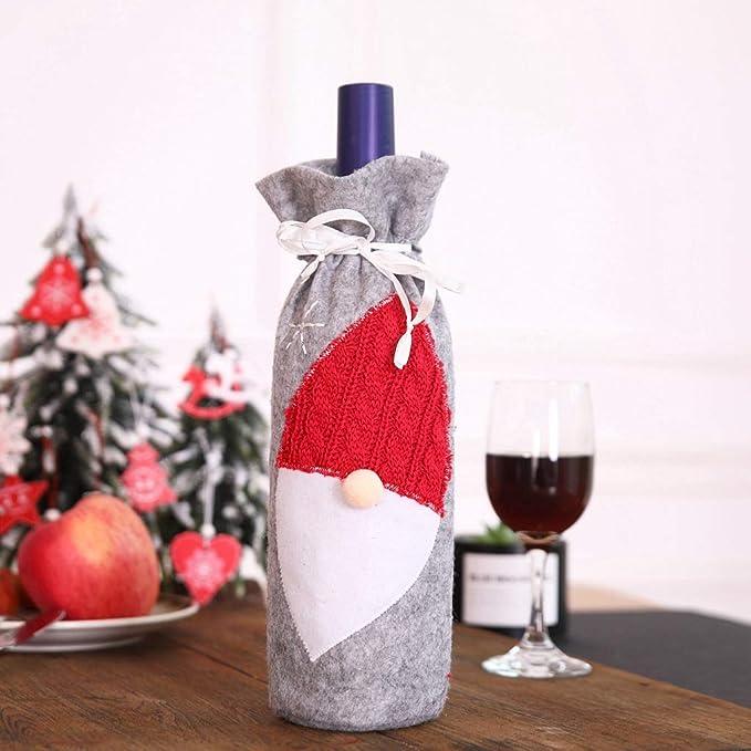 gnomo Erisl Juego de 2 Fundas para Botellas de Vino Tinto de Navidad para Cena decoraci/ón del hogar Fiesta