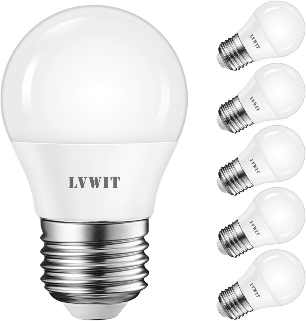 LVWIT Bombillas LED G45 E27 (Casquillo Gordo) - 5W equivalente a 40W, 470 lúmenes, Color blanco cálido 2700K, No regulable - Pack de 6 Unidades.
