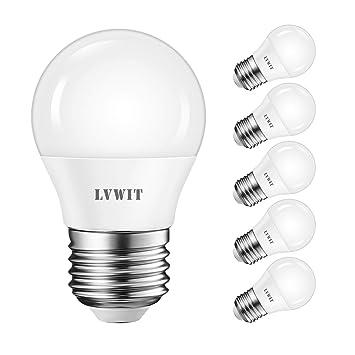 LVWIT Bombillas LED G45 E27 (Casquillo Gordo) - 5W equivalente a 50W, 470