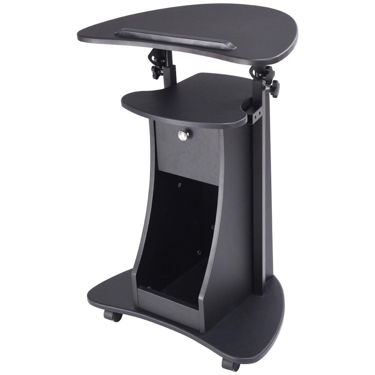 Black Rolling Laptop Cart Stand Up Desk Storage w/ Adjustable Height 32'' - 46''