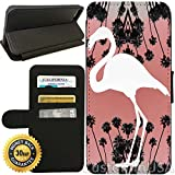 Flip Wallet Case for iPhone 8 PLUS (Flamingo Palm Tree Art) with Adjustable Stand and 3 Card Holders   Shock Protection   Lightweight   Includes Free Stylus Pen by Innosub
